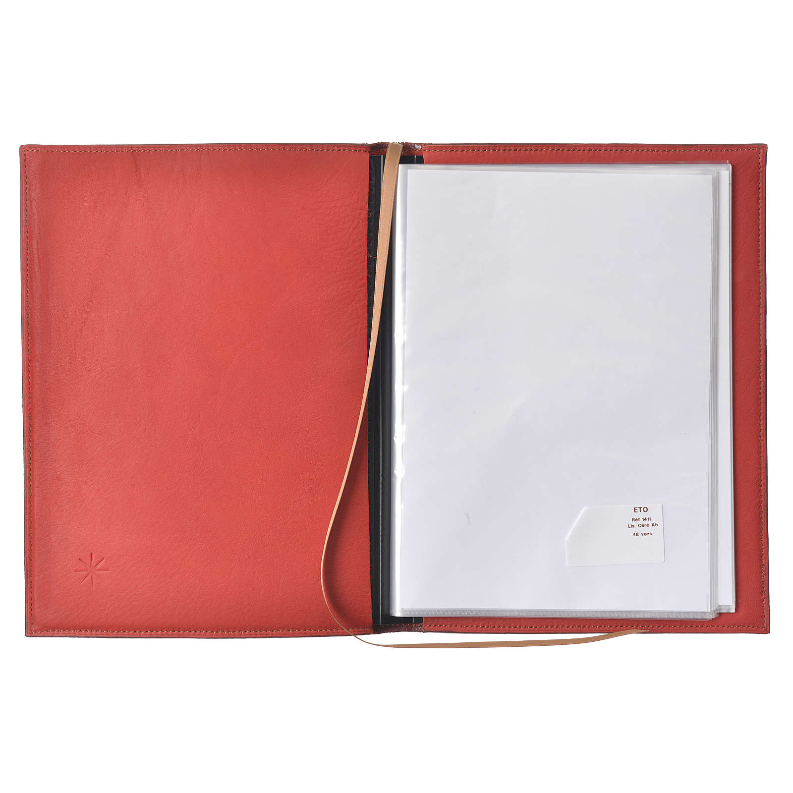 A5 size Red Leather Folder with Hot Pressed Golden Lamb Bethelehem 4