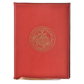 A5 size Red Leather Folder with Hot Pressed Golden Lamb Bethelehem s1
