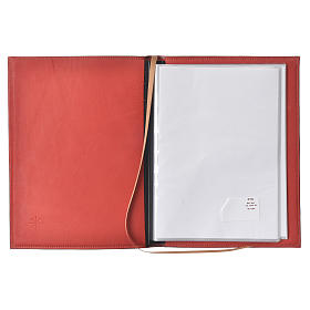 A5 size Red Leather Folder with Hot Pressed Golden Lamb Bethelehem s3