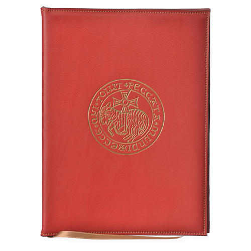 A5 size Red Leather Folder with Hot Pressed Golden Lamb Bethelehem 1