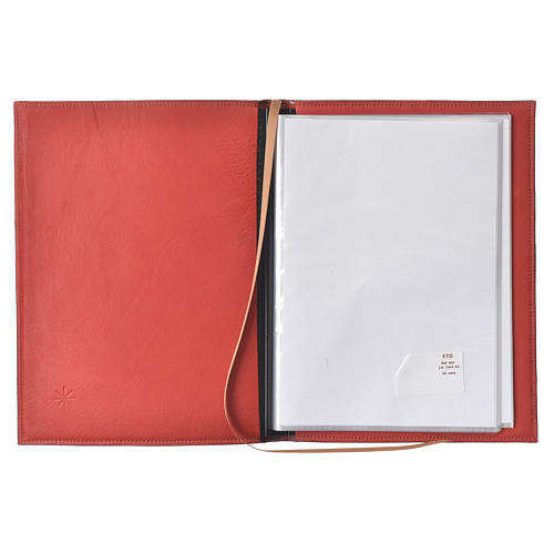 A5 size Red Leather Folder with Hot Pressed Golden Lamb Bethelehem 3
