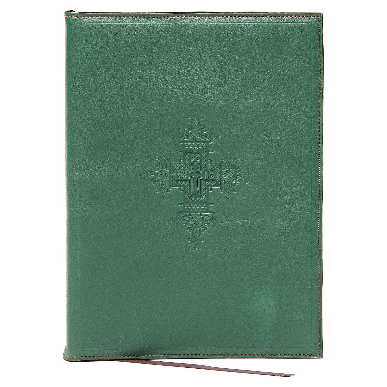 Capa para rituais litúrgicos couro tamanho A5 verde cruz Monges Belém  4
