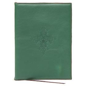 Capa para rituais litúrgicos couro tamanho A5 verde cruz Monges Belém  s1