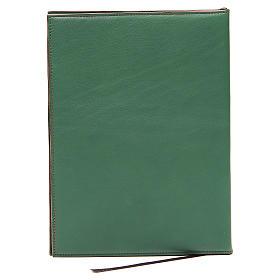 Capa para rituais litúrgicos couro tamanho A5 verde cruz Monges Belém  s2