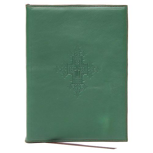 Capa para rituais litúrgicos couro tamanho A5 verde cruz Monges Belém  1
