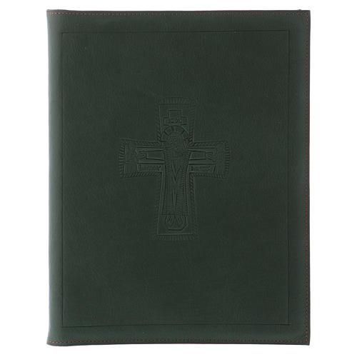 Custodia portariti formato A5 verde croce romana impressa Bethlèem 1