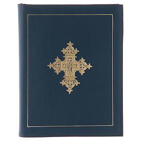 Custodia portariti formato A5 blu croce copta dorata Bethlèem s1