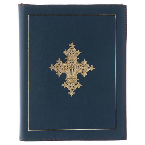 Custodia portariti formato A5 blu croce copta dorata Bethlèem 1