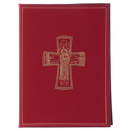 Custodia portariti formato A5 rossa croce romana dorata Bethlèem 1