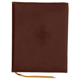 A5 case in REAL LEATHER with cross decoration s1