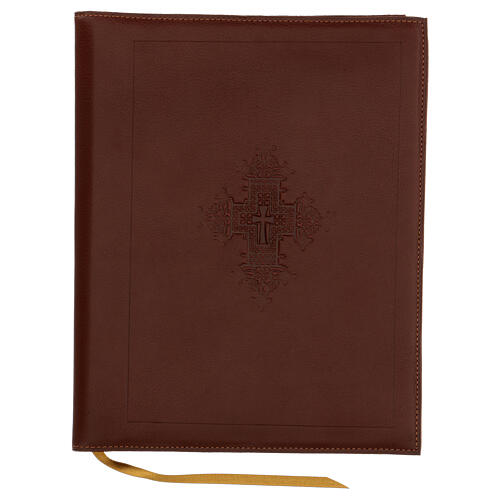 A5 case in REAL LEATHER with cross decoration 1