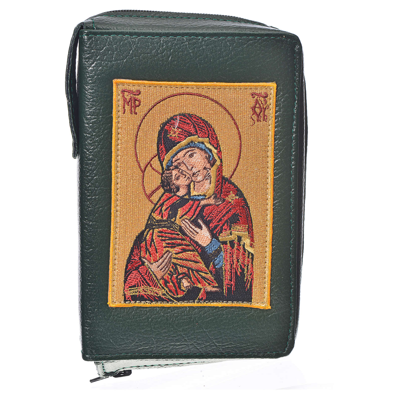 Funda Sagrada Biblia CEE ED. Pop. verde simil cuero Virgen 4