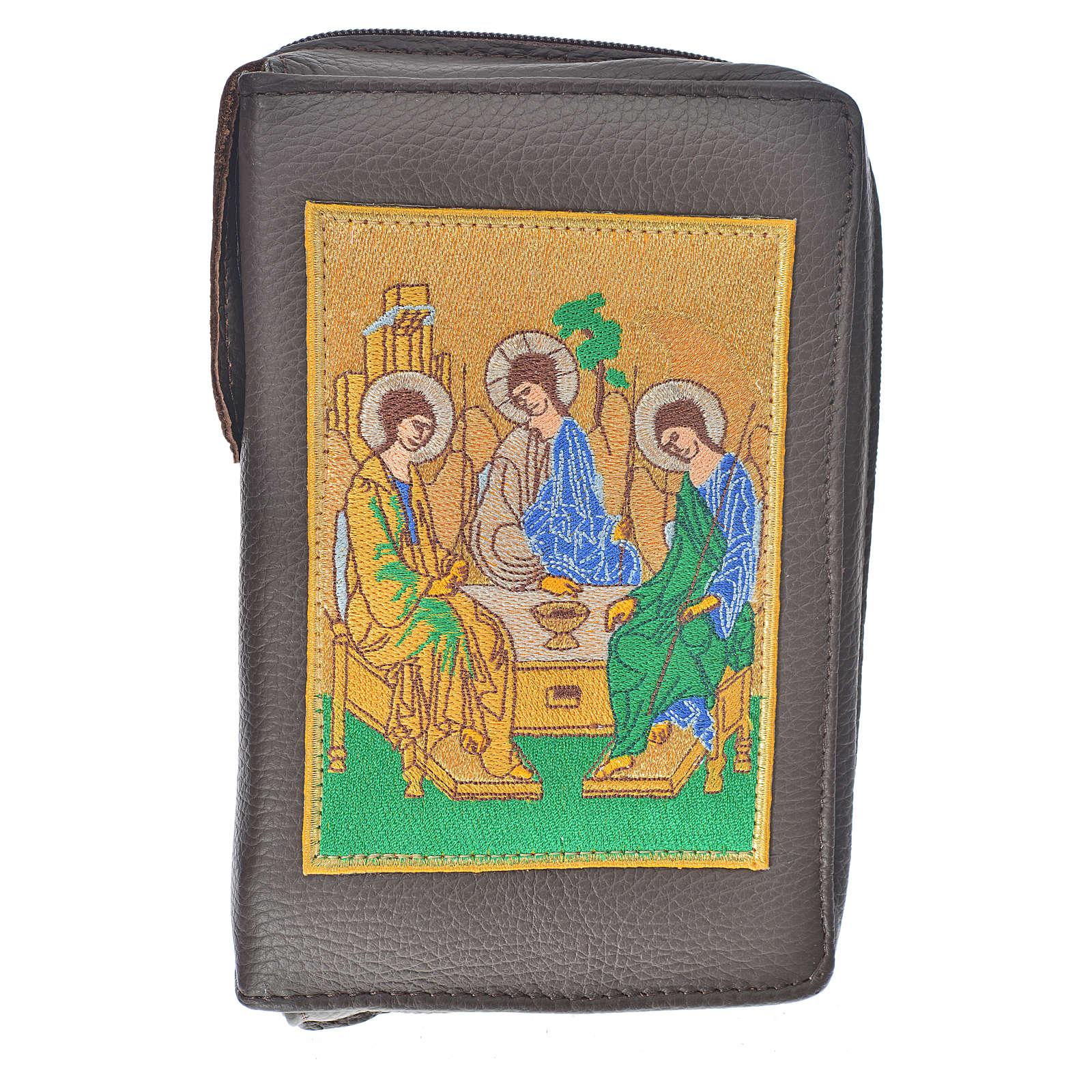 Funda Sagrada Biblia CEE ED. Pop. marrón oscuro cuero S.Trinidad 4