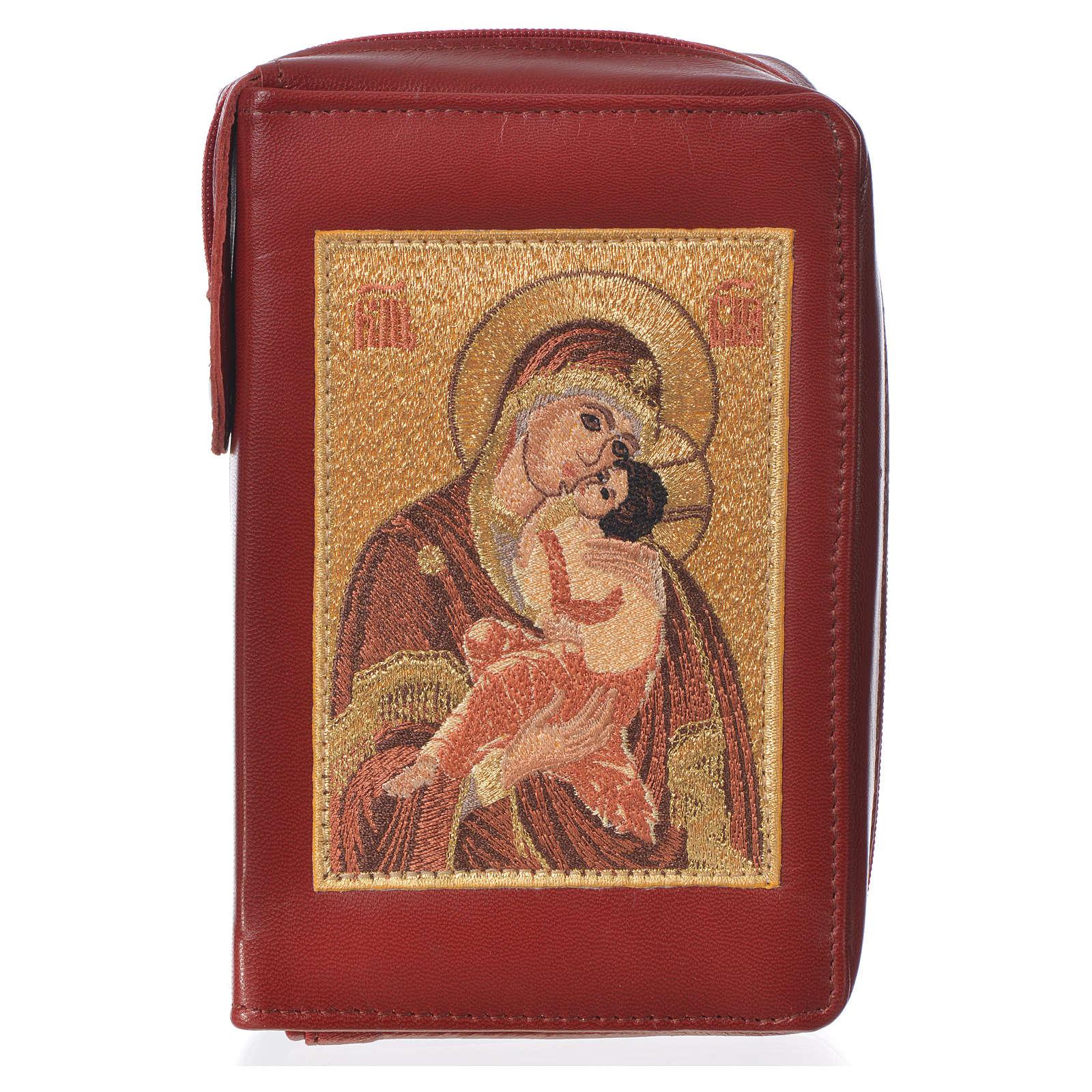 Funda Sag. Biblia CEE peq. ESPAÑA burdeos cuero Virgen Tern 4