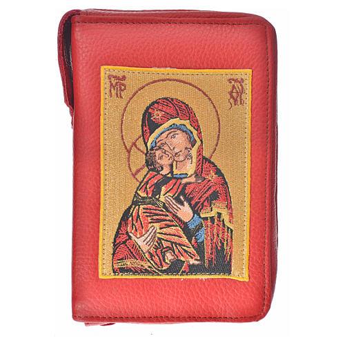 Funda Sagrada Biblia CEE ED. Pop. burdeos cuero Virgen Niño 1