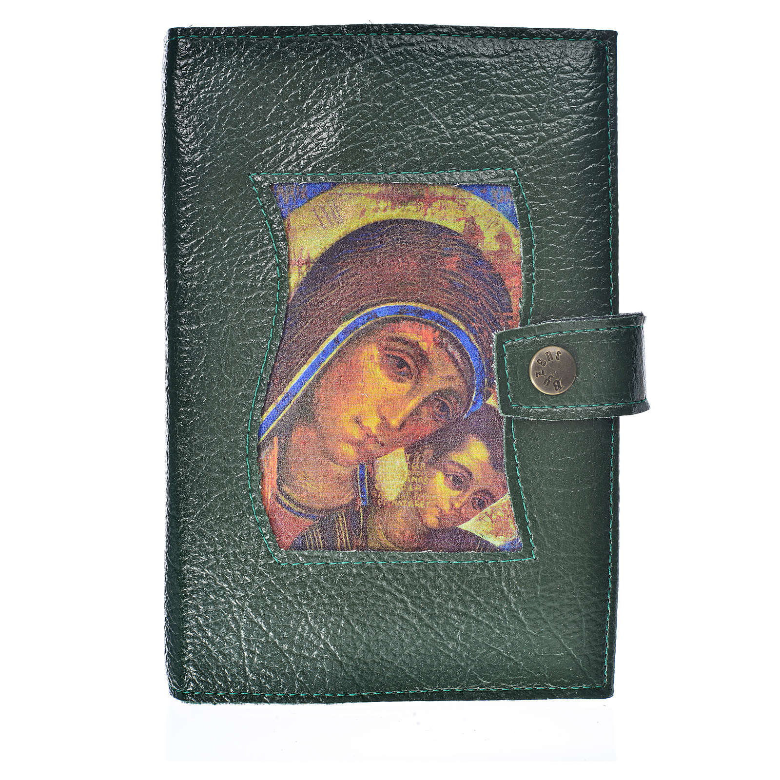 Funda Sagrada Biblia CEE ED. Pop. Virgen Kiko simil cuero verde 4