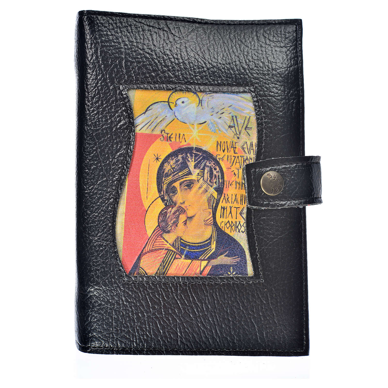 Funda Sagrada Biblia CEE ED. Pop. negro simil cuero Virgen 3 Mil 4