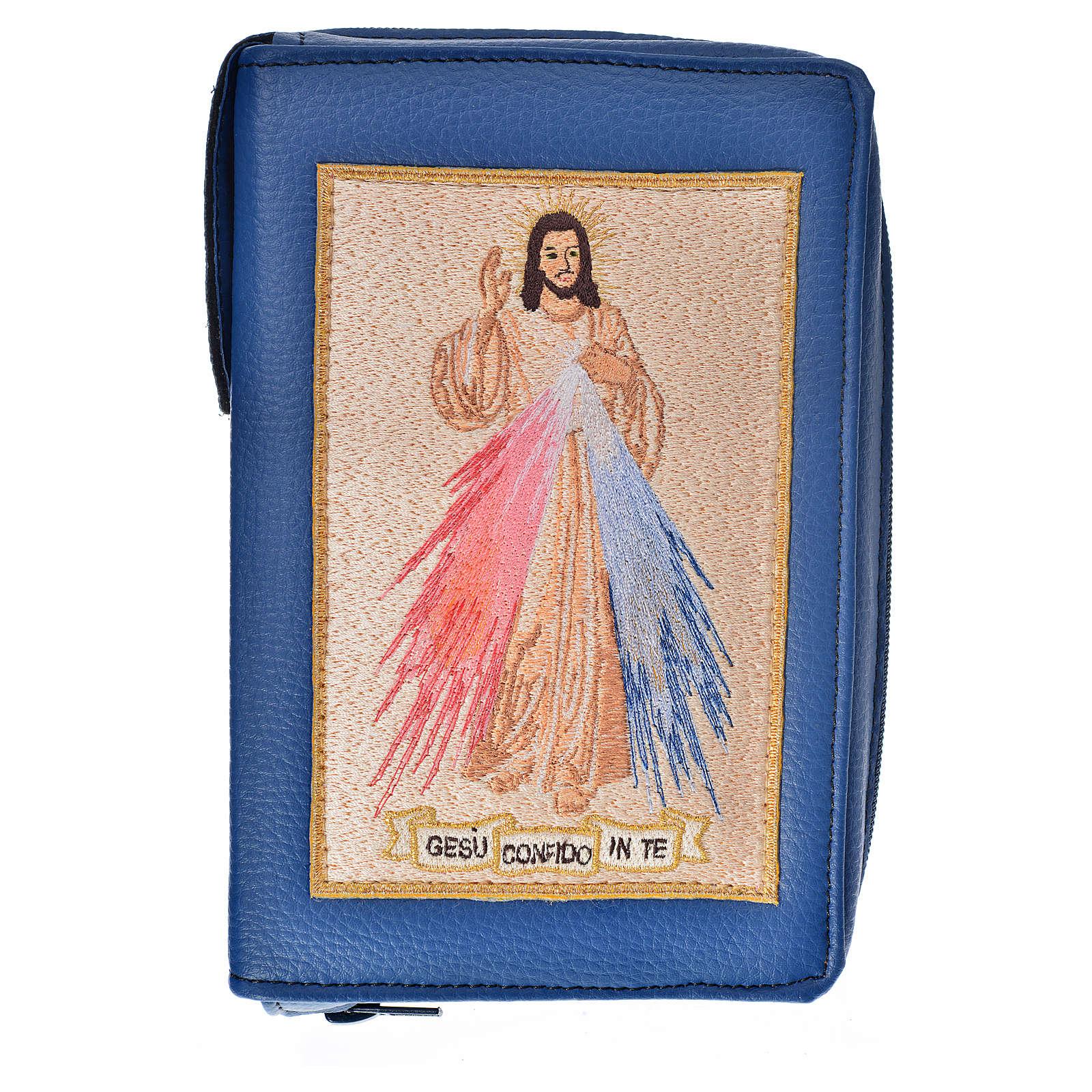 Funda Biblia CEE grande azul simil cuero Misericordioso 4
