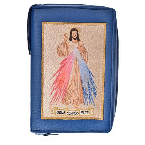 Funda Biblia Jerusalén Nueva Ed. azul simil cuero Divina Misericordia 1