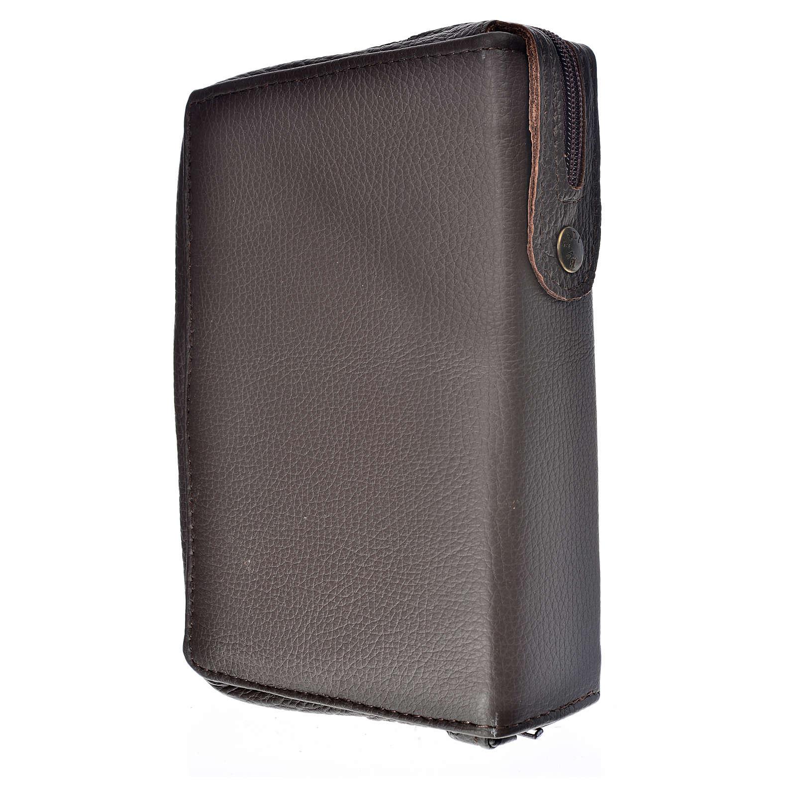 Funda Biblia Jerusalén Nueva Ed. marrón oscuro cuero Virgen con Niño 4