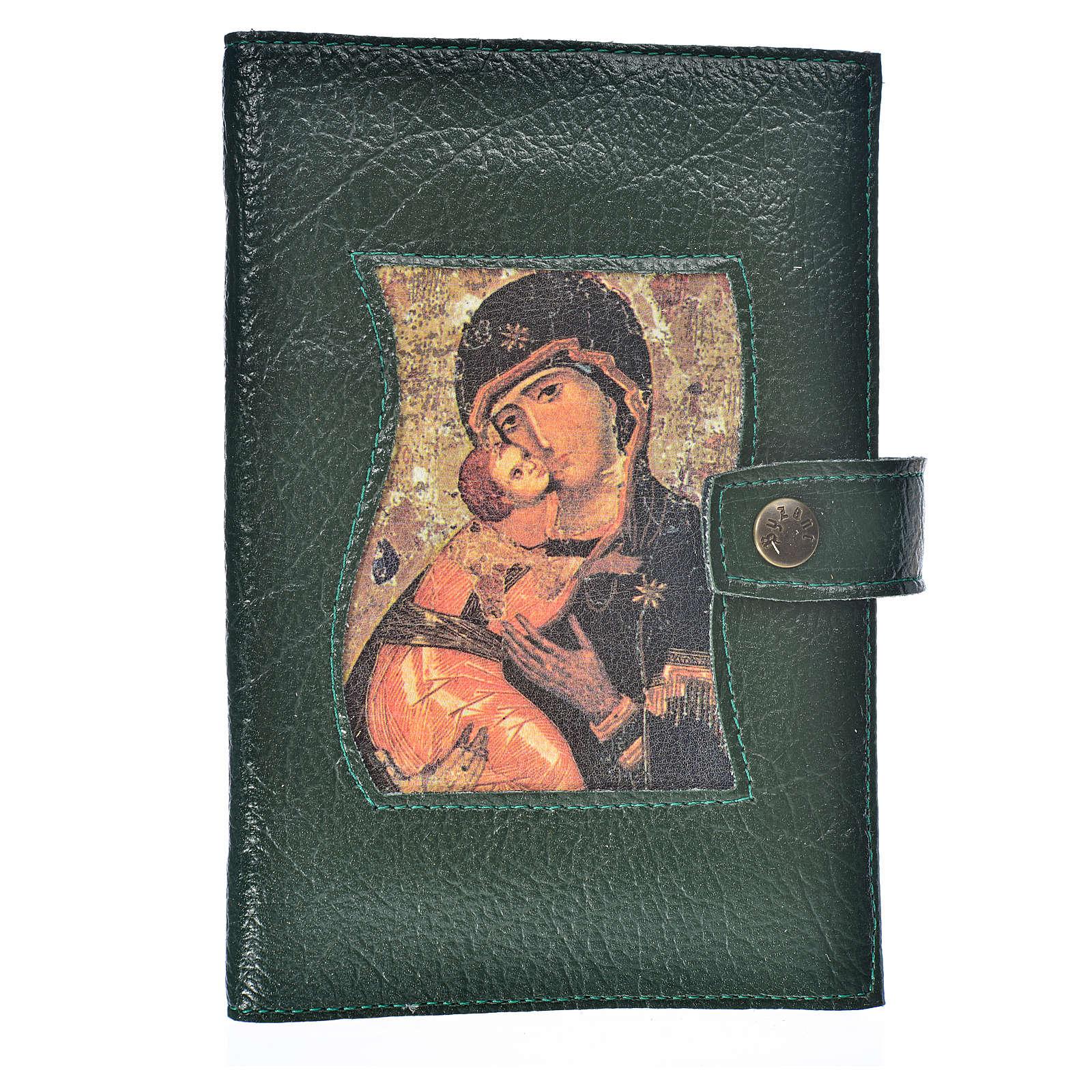 Funda Biblia Jerusalén Nueva Ed. simil cuero verde Virgen Niño 4