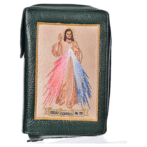 Divine office cover, green bonded leather Divine Mercy 1