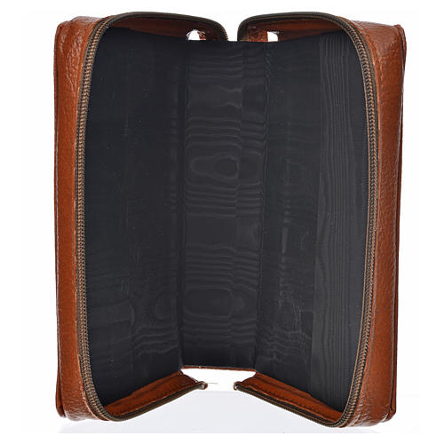 Divine office cover brown bonded leather Our Lady of Kiko 3
