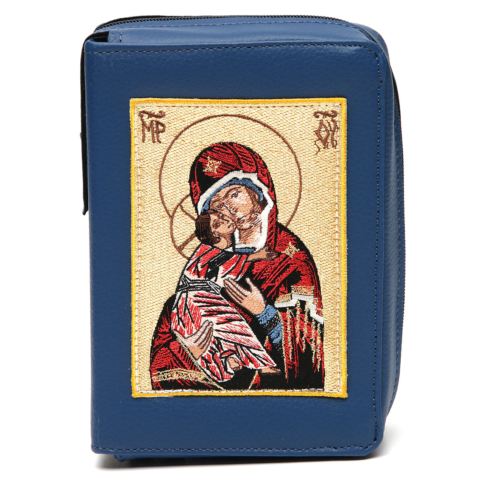 Divine office cover blue bonded leather Our Lady of Tenderness 4