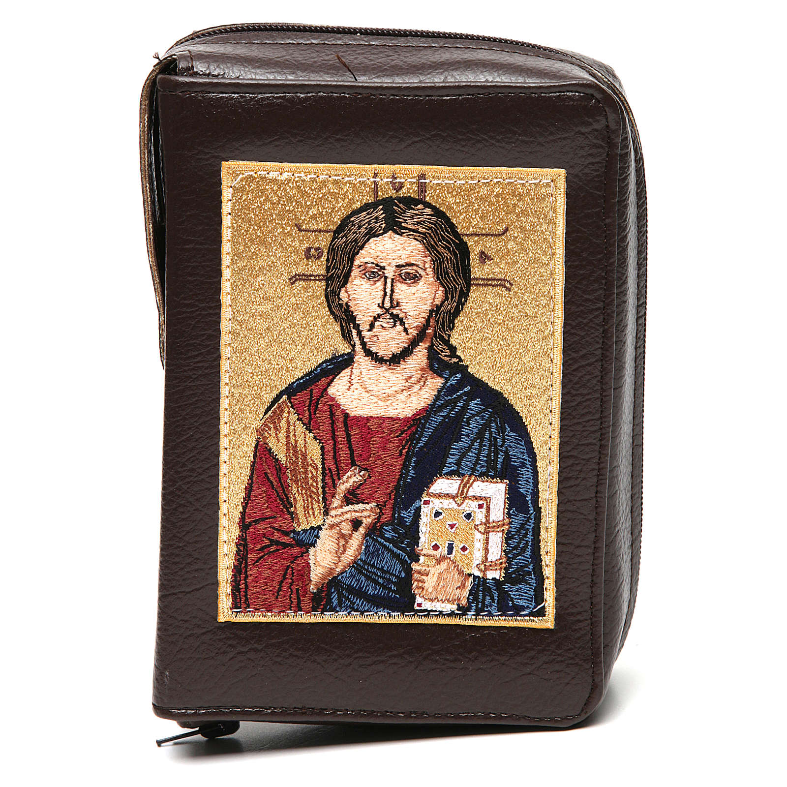 Divine office cover dark brown leather Christ Pantocrator with open book 4