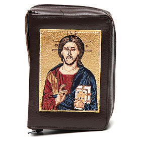 Divine office cover dark brown leather Christ Pantocrator with open book s1