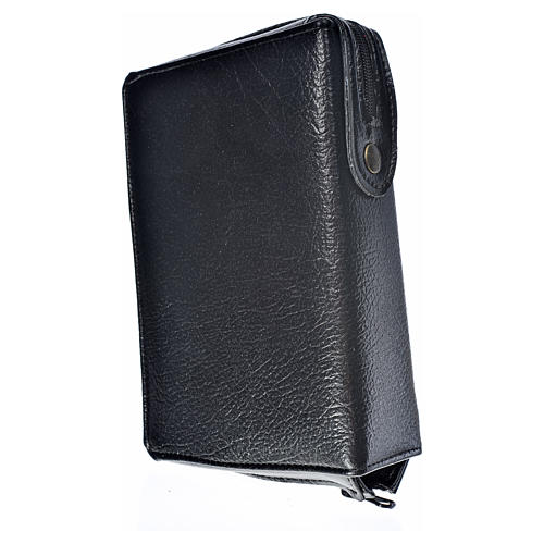 Black bonded leather cover for Morning and Evening prayer with image of Our Lady of Kiko 2