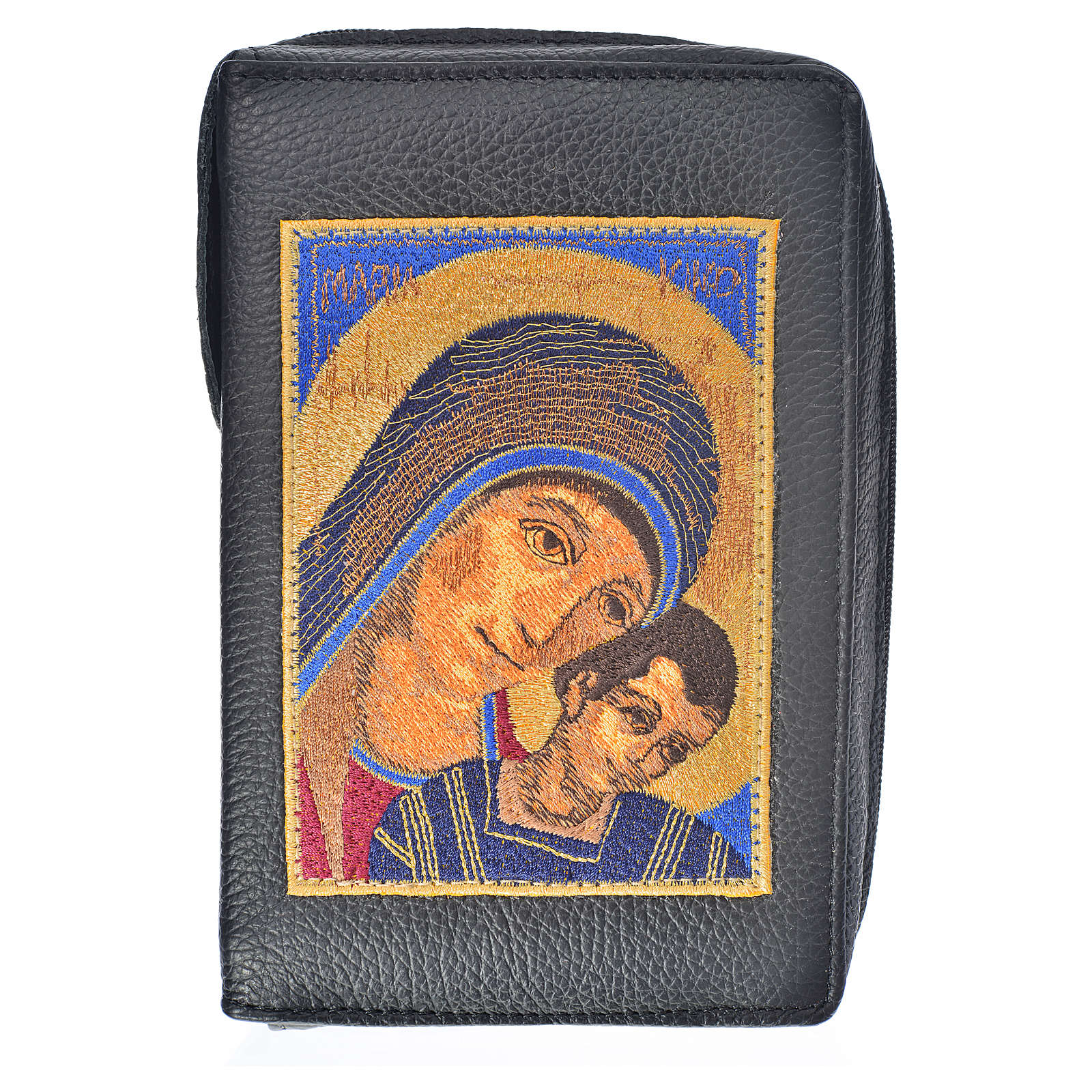 Morning and Evening Prayer cover in black genuine leather with image of Our Lady of Kiko 4