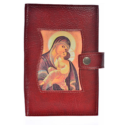 Cover for Morning and Evening prayer with image of Our Lady of Vladimir in burgundy leather imitation 1