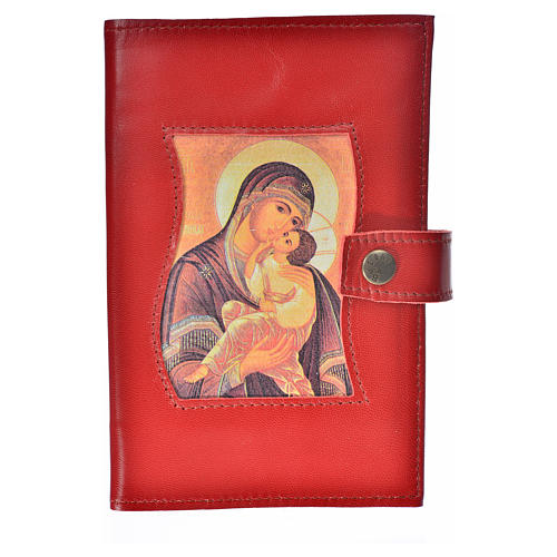 Morning and Evening Prayer cover red leather with Our Lady of Tenderness 1