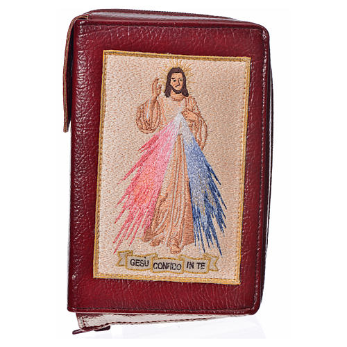 Catholic Bible Anglicized cover, burgundy bonded leather with image of the Divine Mercy 1
