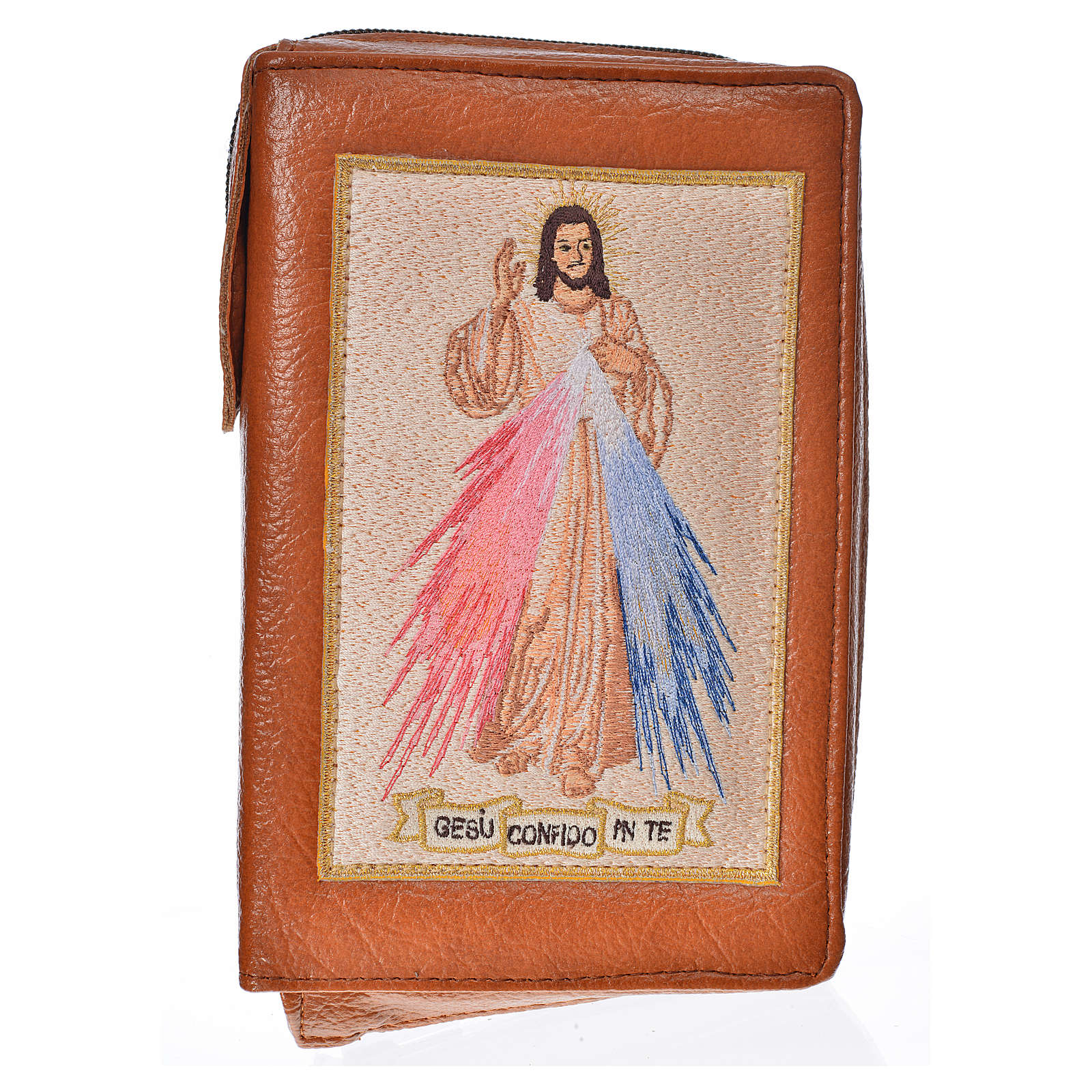 Catholic Bible Anglicised cover brown bonded leather with Divine Mercy 4