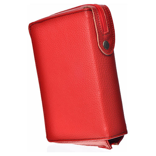 Cover for the New Jerusalem Bible READER ED, red bonded leather with image of Our Lady of Kiko 2
