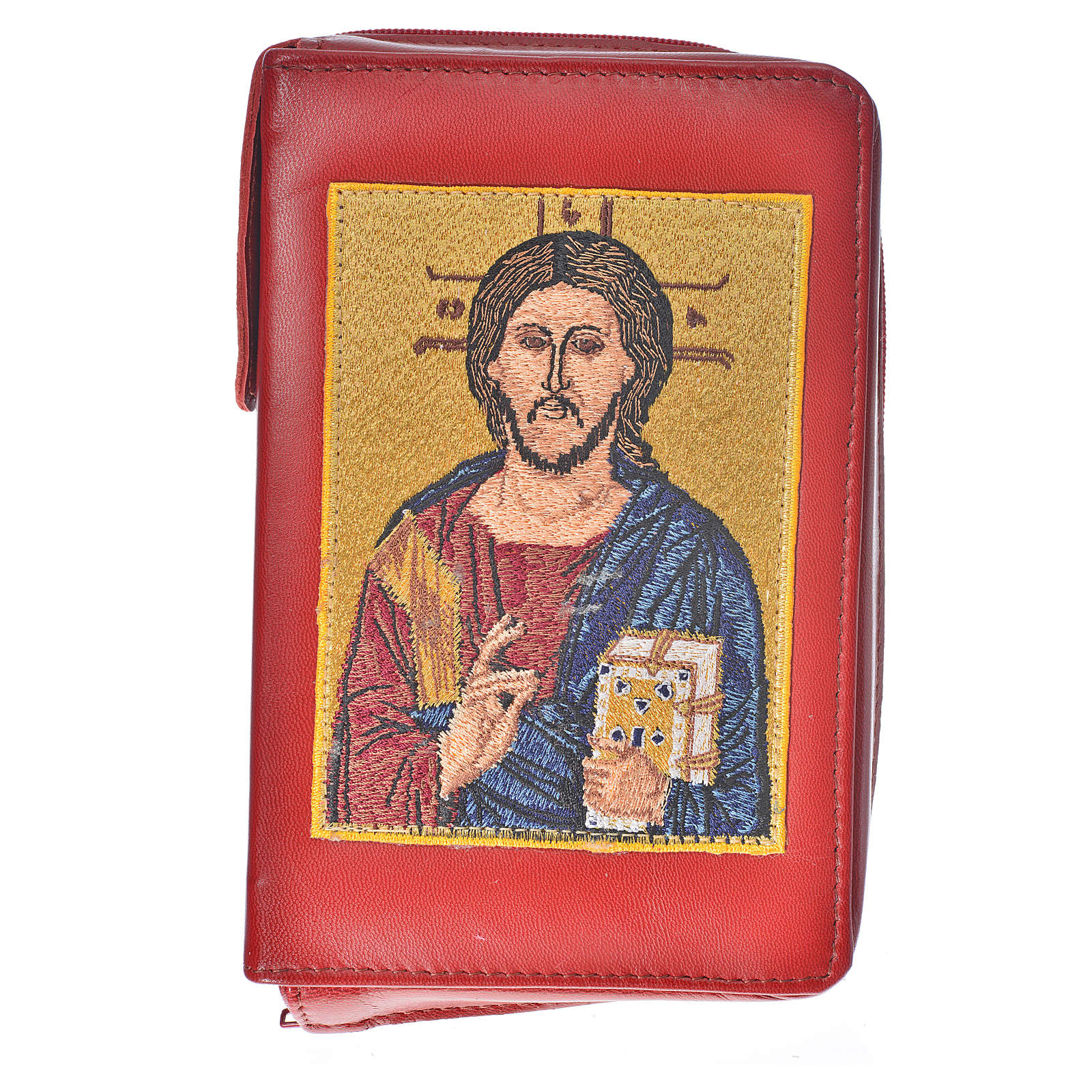 Bible cover reader edition red leather Christ 4