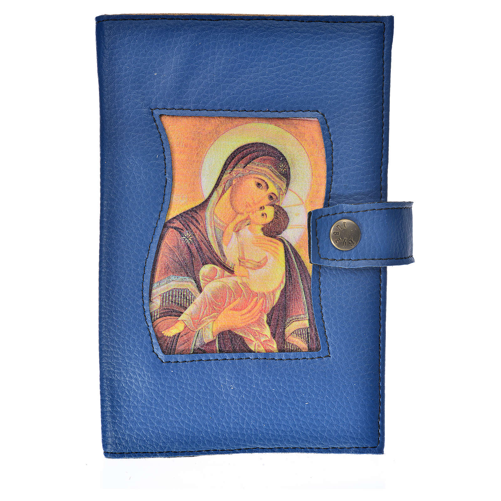 Bible cover reader edition, blue leather Our Lady 4