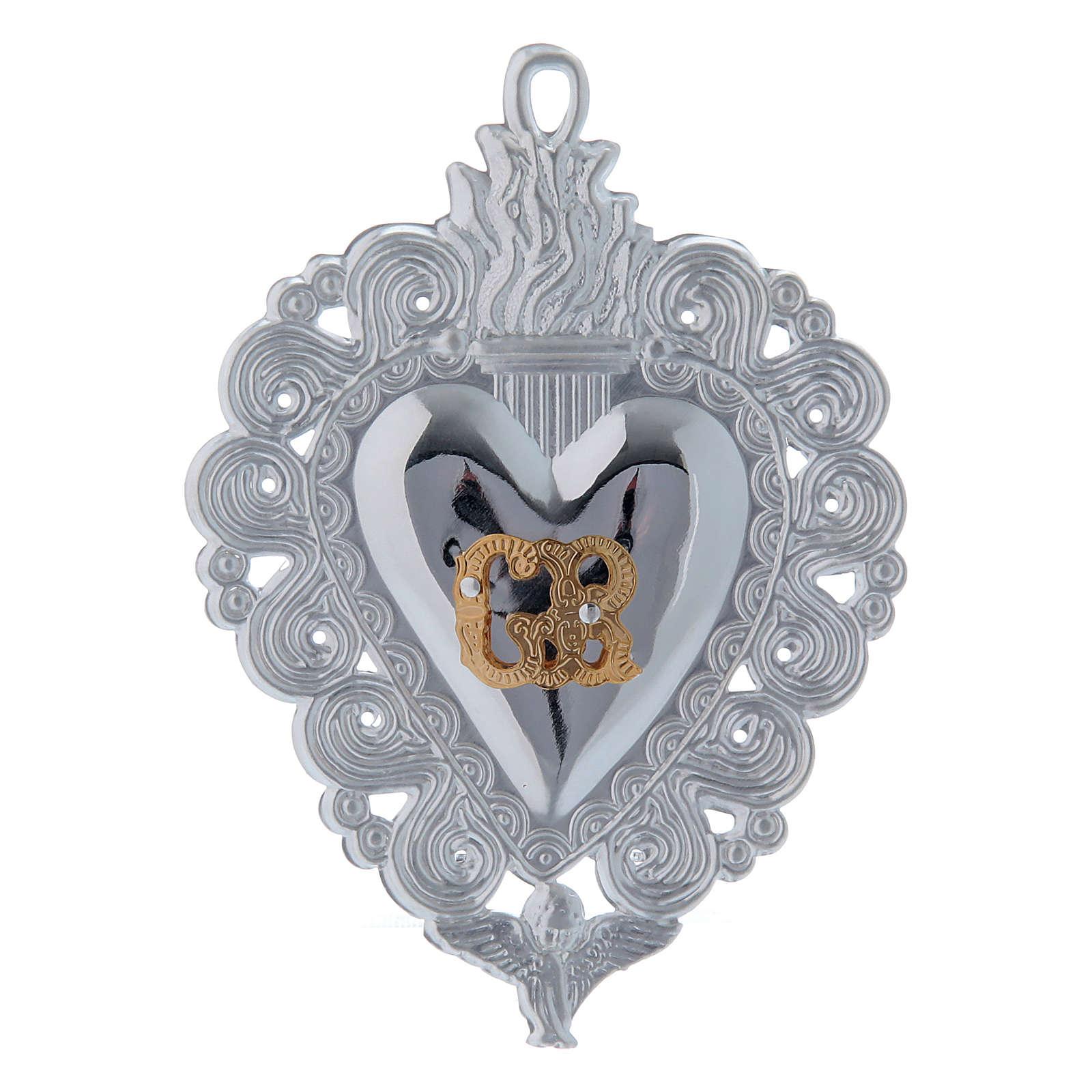 Exvoto Corazón llama y ángel 9.5 x 7.5 cm. 3
