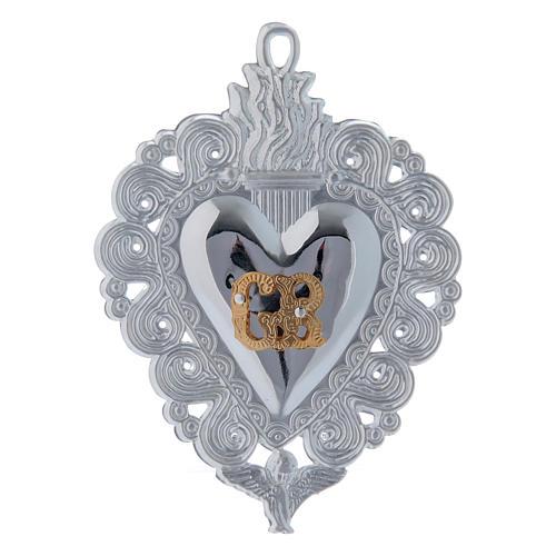 Exvoto Corazón llama y ángel 9.5 x 7.5 cm. 1