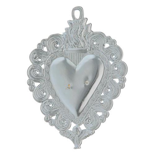 Exvoto Corazón llama y ángel 9.5 x 7.5 cm. 2