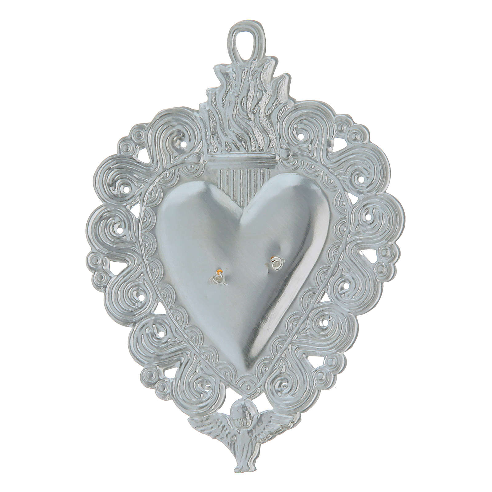 Ex-voto, Votive heart with angel 9.5x7.5cm 3