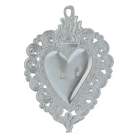 Ex-voto, Votive heart with angel 9.5x7.5cm s2