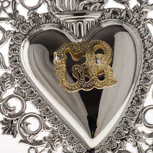 Ex-voto, Votive heart with angel 9.5x7.5cm 2