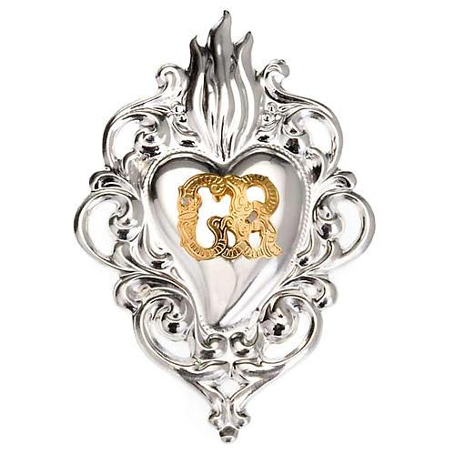 Ex-voto, Votive heart with flame 8x6cm 1