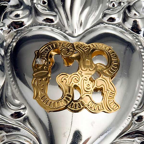 Ex-voto, Votive heart with flame 8x6cm 4