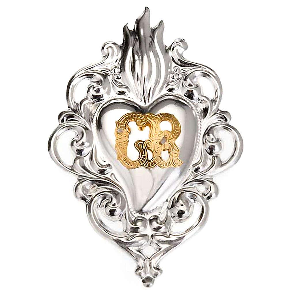 Ex-voto, Votive heart with flame 8x6cm 3