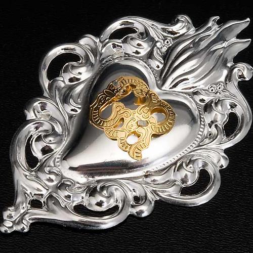 Ex-voto, Votive heart with flame 8x6cm 2