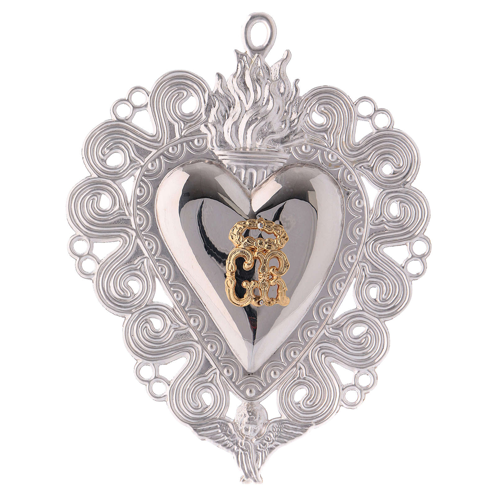 Ex-voto, Votive heart with flame and angel 15x11cm 3